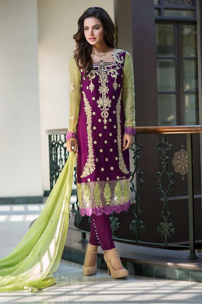Iznik Luxury Chiffon Collection 2016 – Violet IZK02 - YourLibaas  - 1