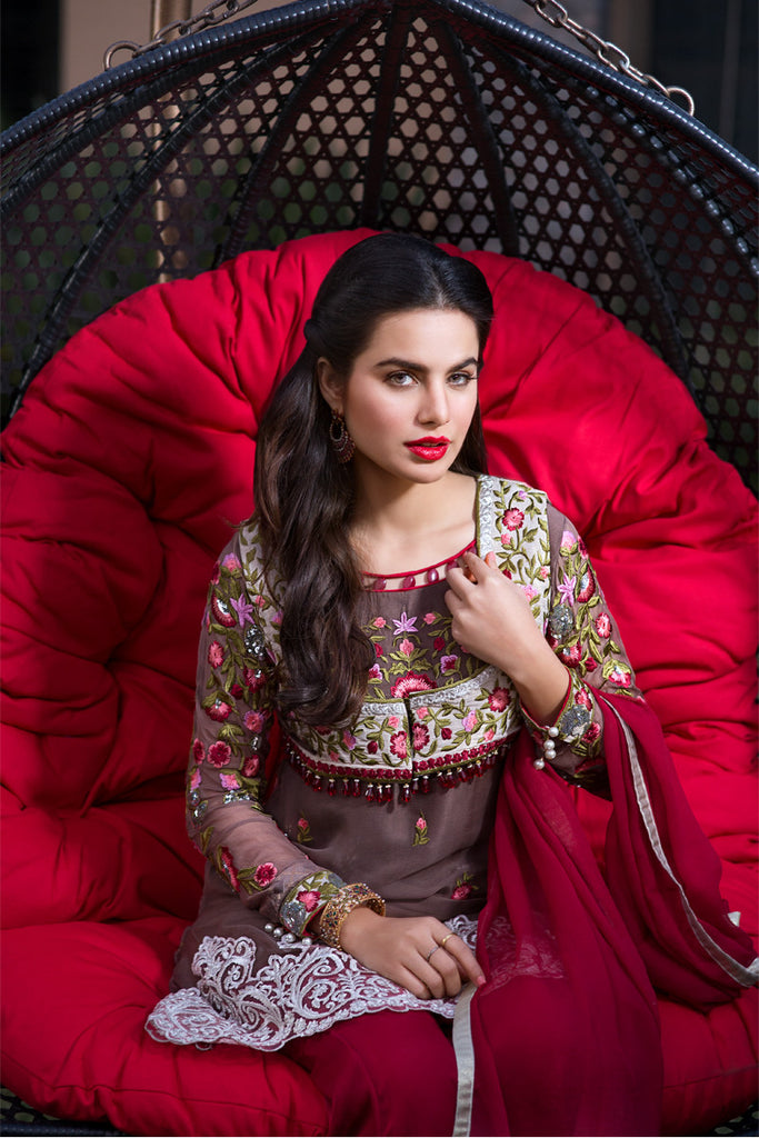 Iznik Luxury Chiffon Collection 2016 – Berry IZK05 - YourLibaas  - 1
