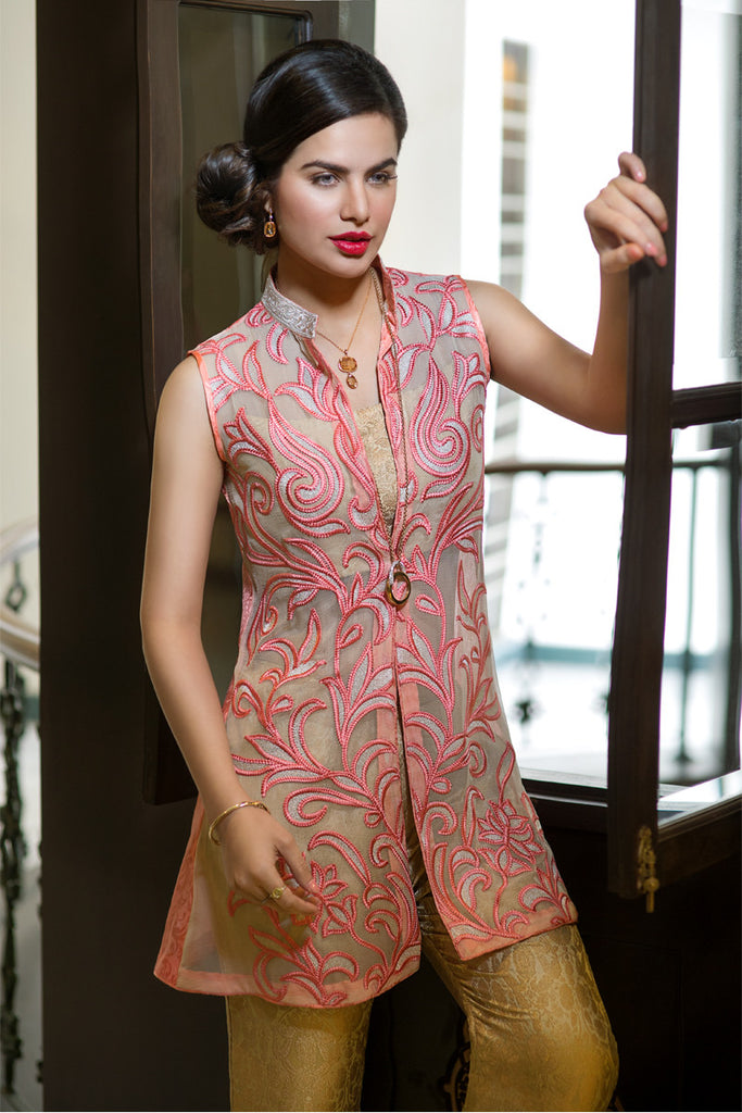 Iznik Luxury Chiffon Collection 2016 – Peach Modern IZK08 - YourLibaas  - 1