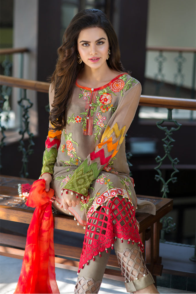 Iznik Luxury Chiffon Collection 2016 – Fire Opal IZK01 - YourLibaas  - 1
