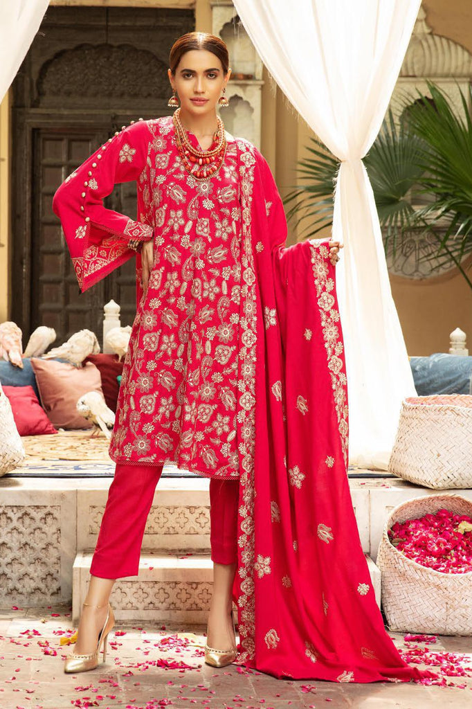 Khoobseerat by Shaista - Peach Embroidery Winter Collection (with Wool Shawl) – DN-275