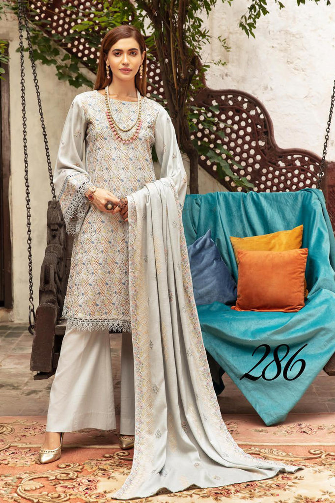 Khoobseerat by Shaista - Peach Embroidery Winter Collection (with Wool Shawl) – DN-286
