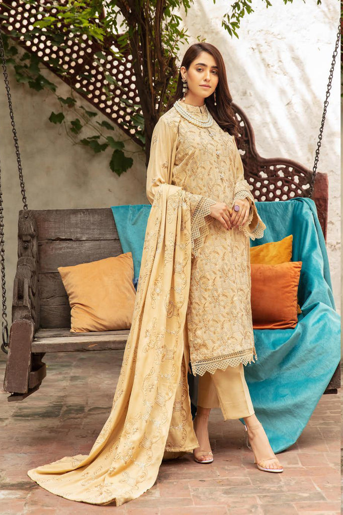Khoobseerat by Shaista - Peach Embroidery Winter Collection (with Wool Shawl) – DN-287