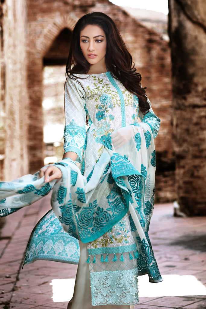 Gul Ahmed Summer 2017 - Sea Green 3 PC Premium Embroidered Chiffon Dress PM-170