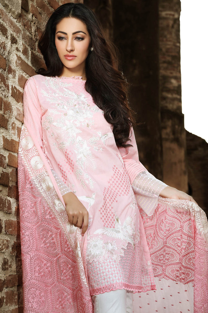 Gul Ahmed Summer 2017 - Peach 3 PC Premium Embroidered Chiffon Dress PM-152