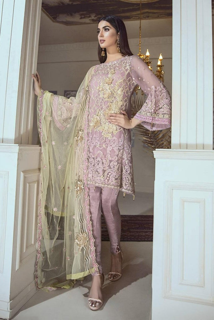 Eshaal Luxury Embroidered Chiffon Collection Vol-4 by Emaan Adeel – Periwinkle Entice