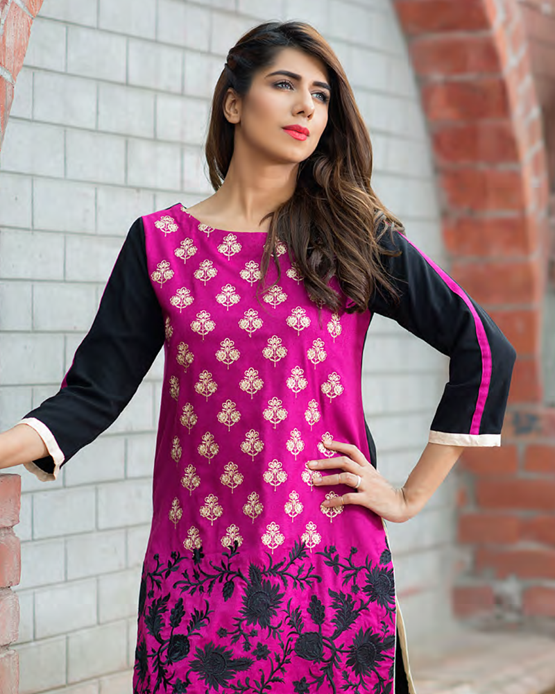 Charizma Plush Embroidered Kurti Fall/Winter Vol 1 – PK11 - YourLibaas  - 1