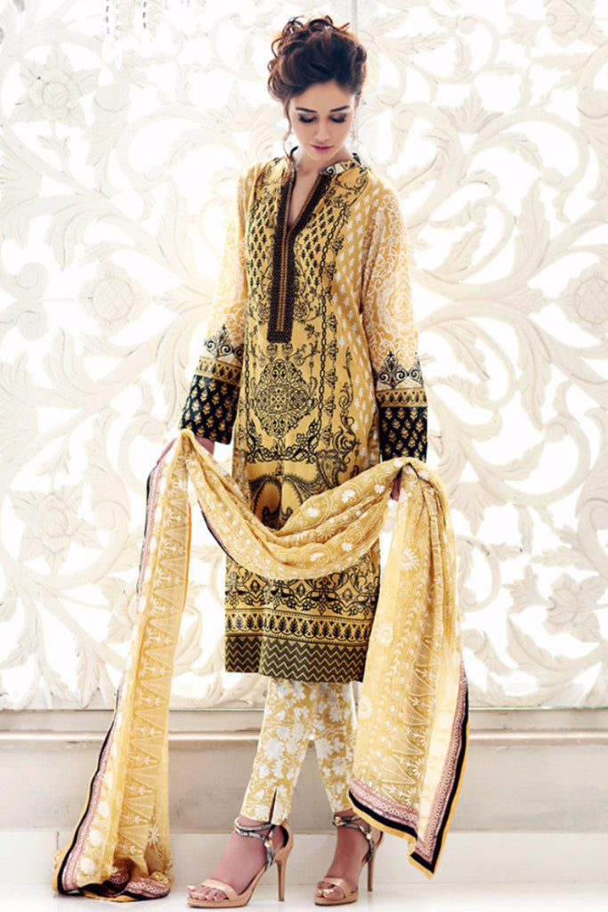 Gul Ahmed Yellow Premium Embroidered Chiffon PM-109 - YourLibaas  - 1