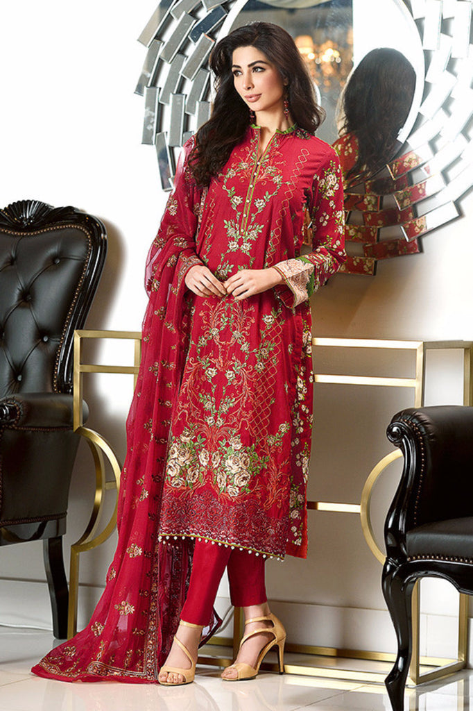 Gul Ahmed Red Premium Embroidered Chiffon PM-112 - YourLibaas  - 1