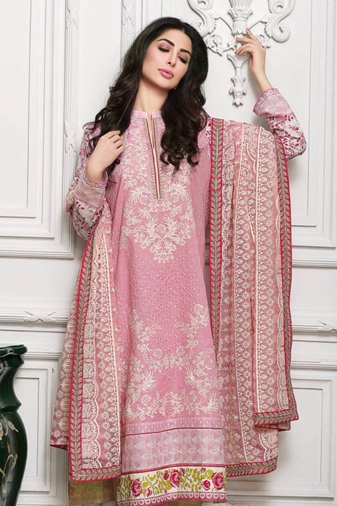 Gul Ahmed Tea Pink Premium Embroidered Chiffon PM-115 - YourLibaas  - 1
