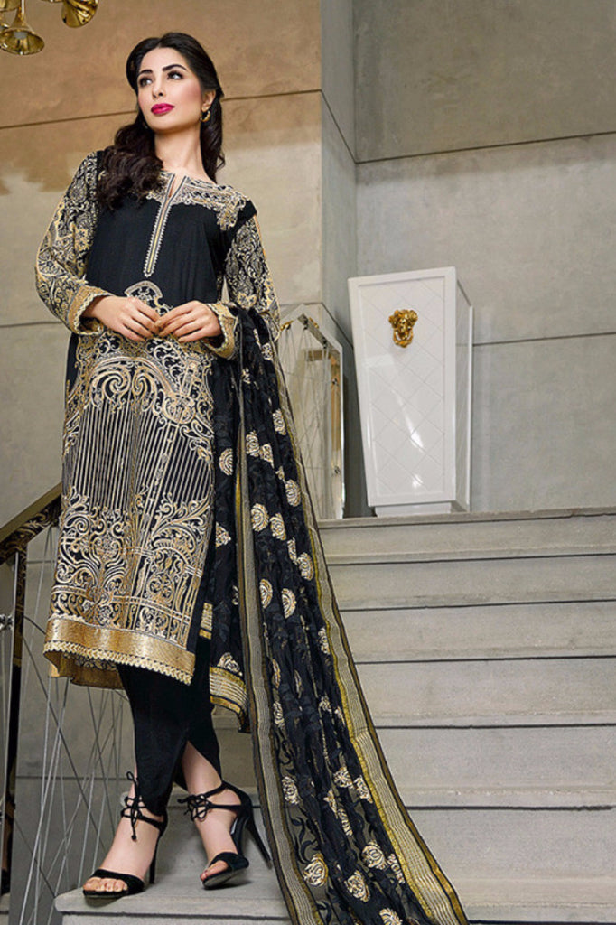 Gul Ahmed Black Premium Embroidered Chiffon PM-125 - YourLibaas  - 1