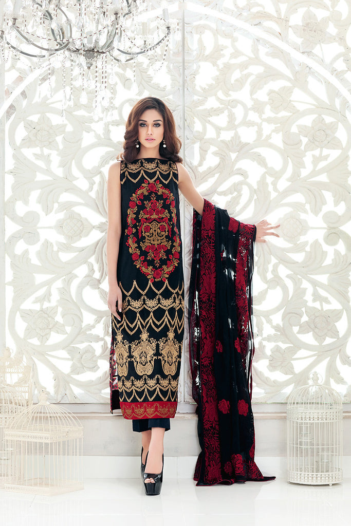 Gul Ahmed Black Premium Embroidered Chiffon PM-138 - YourLibaas  - 1