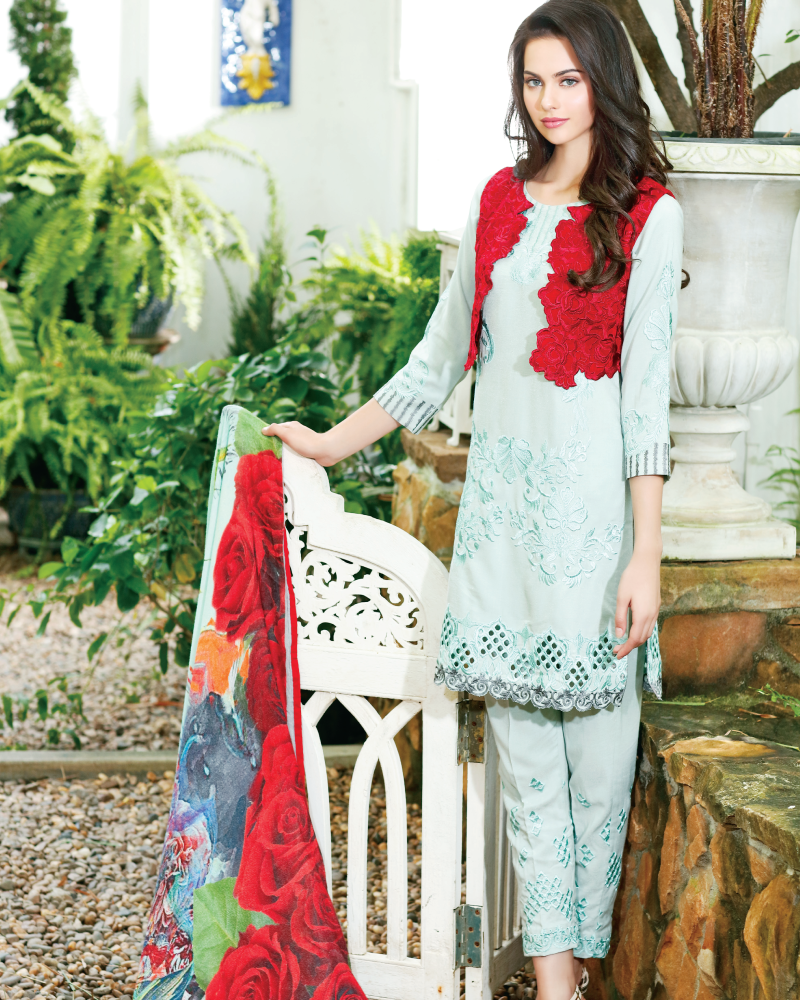 Charizma Reem Winter Collection – Red Canvas RM-05 - YourLibaas  - 1