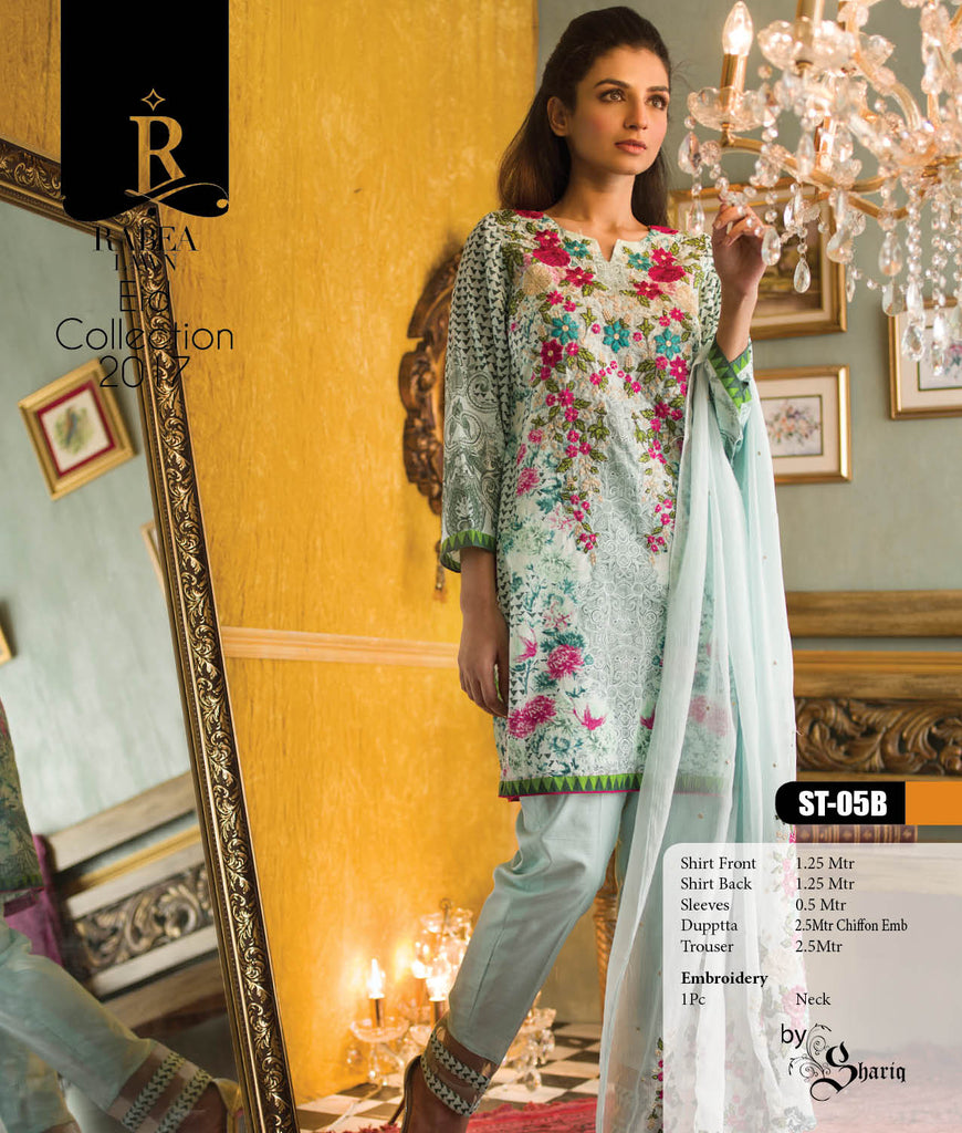 Rabea Embroidered Lawn Designer Collection – 05B