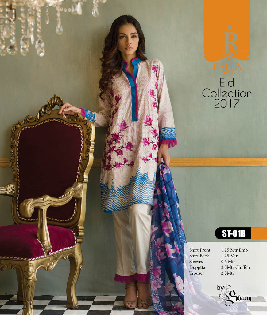 Rabea Embroidered Lawn Designer Collection – 01B