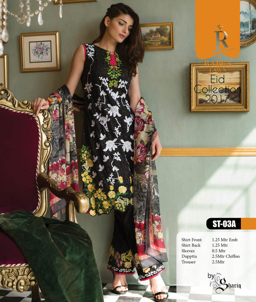 Rabea Embroidered Lawn Designer Collection – 03A
