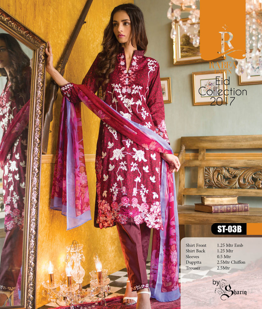 Rabea Embroidered Lawn Designer Collection – 03B