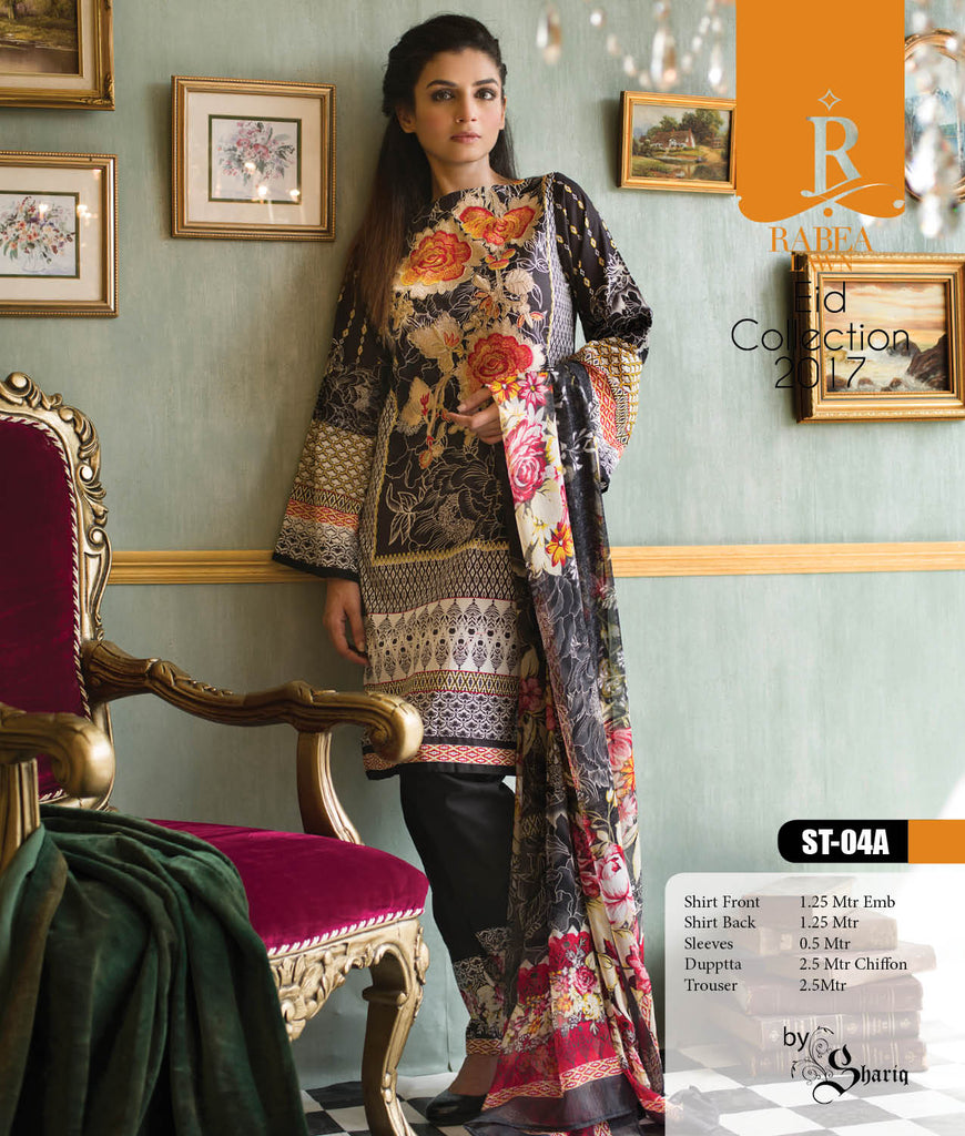 Rabea Embroidered Lawn Designer Collection – 04A