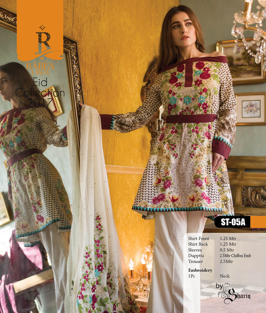 Rabea Embroidered Lawn Designer Collection – 05A