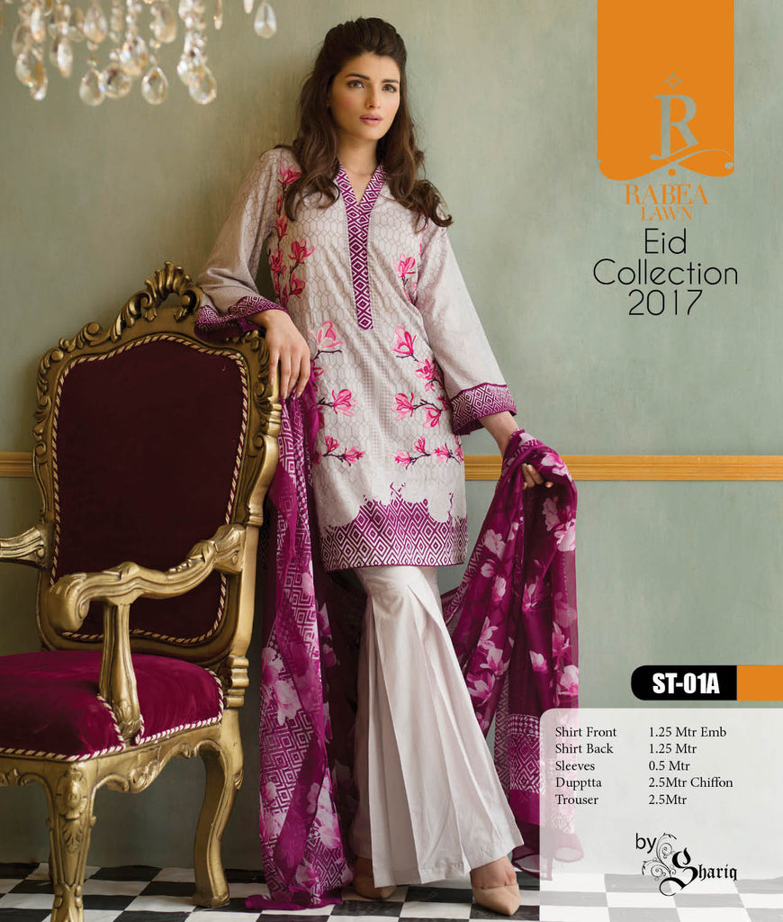 Rabea Embroidered Lawn Designer Collection – 01A