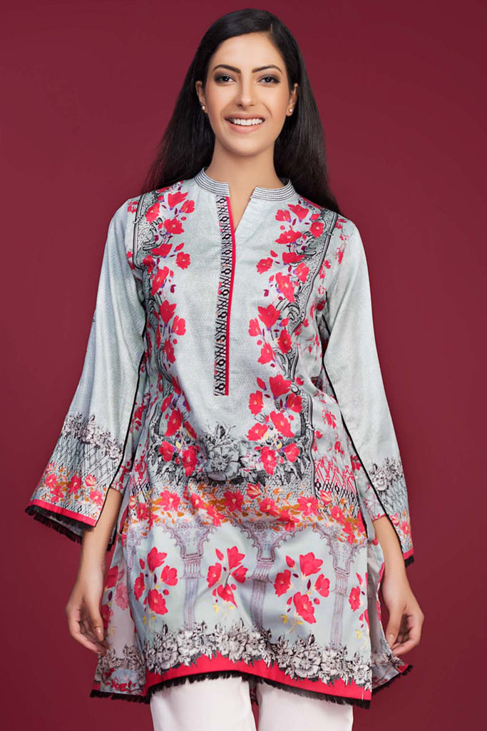 Gul Ahmed Winter Collection Tunic – Grey Single Digital Satin SDS-02 A - YourLibaas  - 1