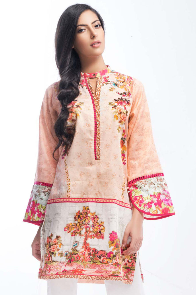 Gul Ahmed Winter Collection Tunic – Pink Single Digital Satin SDS-03 A - YourLibaas  - 1