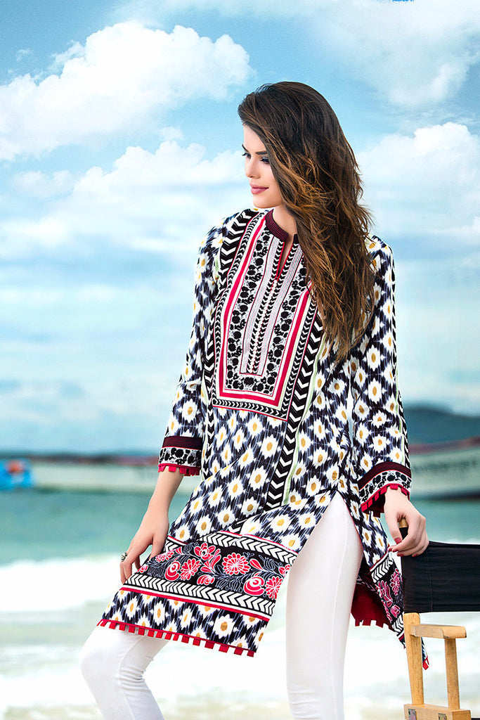 Gul Ahmed Grey Printed Lawn Tunic SL-202 A - YourLibaas  - 1