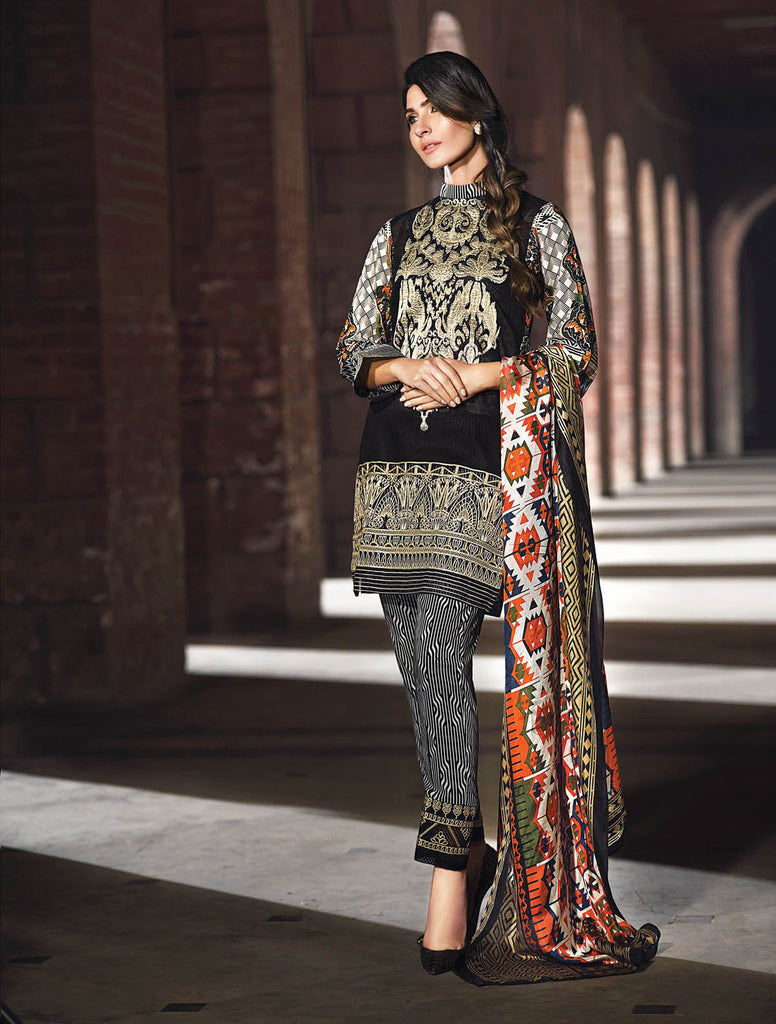 Gul Ahmed Summer 2017 - Black 3 PC Embroidered Trencia Satin Silk Dress SS-117
