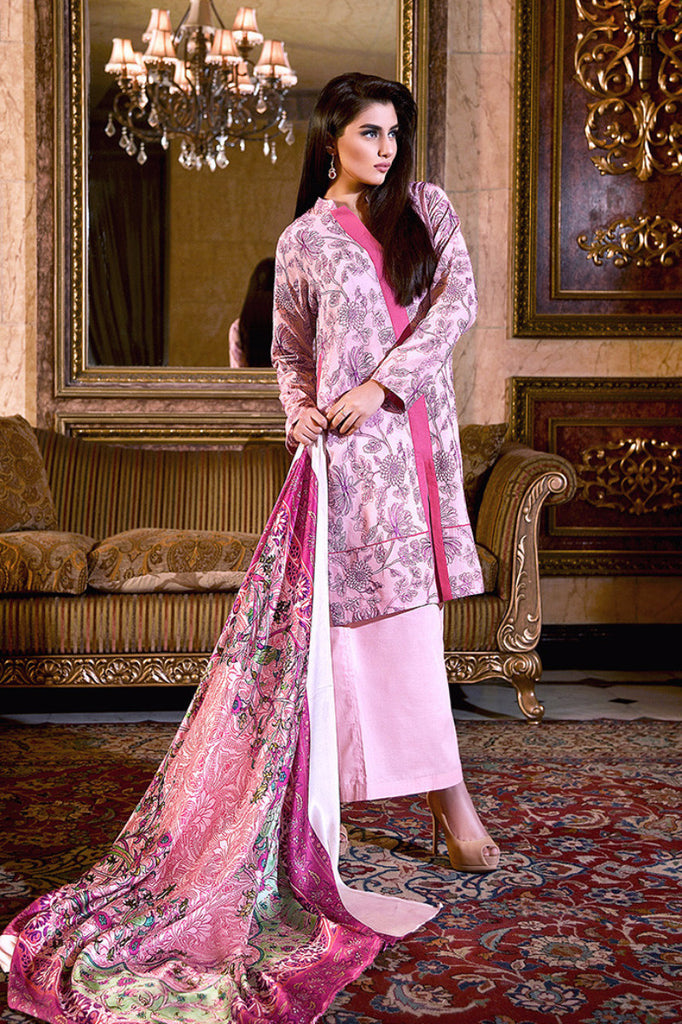 Gul Ahmed Tea Pink Trencia Satin Silk – SS-133 - YourLibaas  - 1