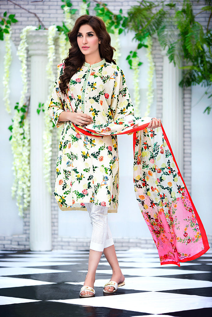 Gul Ahmed Cream Soya Silk Collection – SY-01 - YourLibaas  - 1