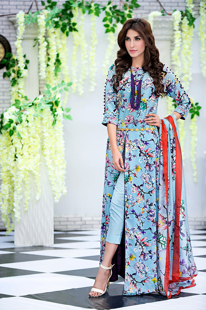 Gul Ahmed Light Blue Soya Silk Collection – SY-03 - YourLibaas  - 1