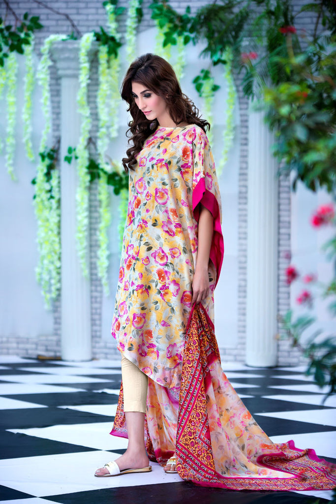 Gul Ahmed Light Yellow Soya Silk Collection – SY-05 - YourLibaas  - 1