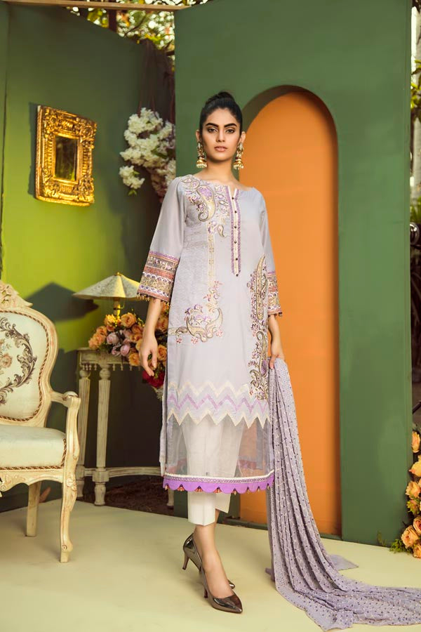 Adan's Libas Aurelia Embroidered Lawn Collection 2019 – ZA-2939 Swiss Coffee
