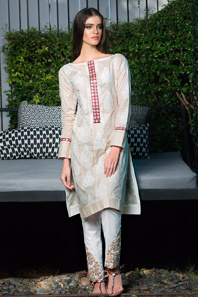 Gul Ahmed Creme Two Piece Embroidered Lawn – TL-36 - YourLibaas  - 1