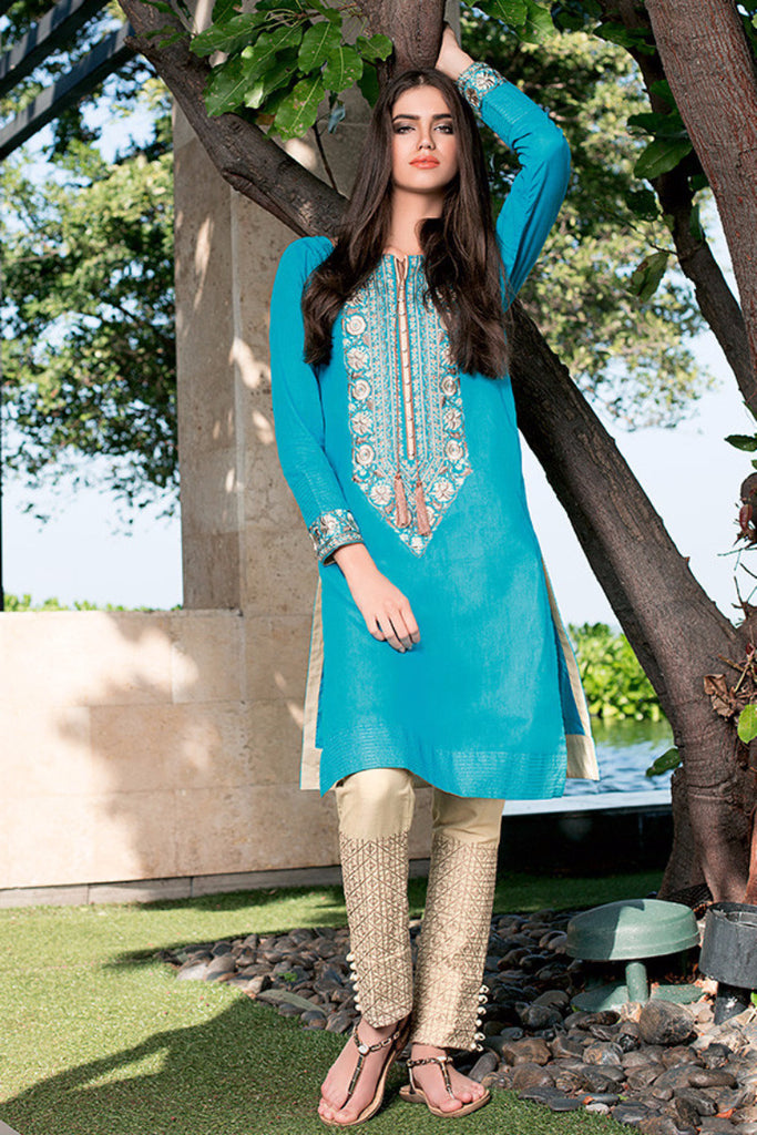 Gul Ahmed Sky Blue Two Piece Embroidered Lawn – TL-38 - YourLibaas  - 1