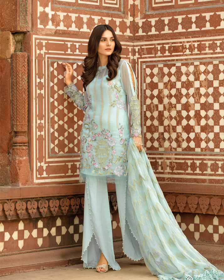 Mah E Rooh Luxury Chiffon Embroidered Formal Collection 2018 – 01- Ice Blue (Chantilly Chiffon)