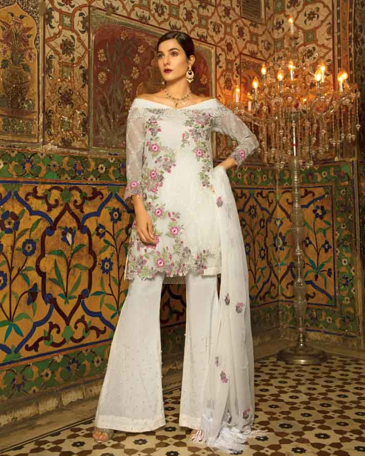 Mah E Rooh Luxury Chiffon Embroidered Formal Collection 2018 – Pearl White (Chantilly Chiffon)