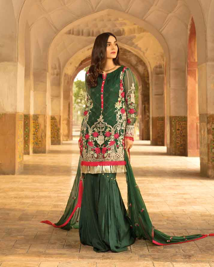 Mah E Rooh Luxury Chiffon Embroidered Formal Collection 2018 – Moss Green (Chantilly Chiffon)