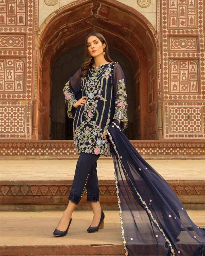 Mah E Rooh Luxury Chiffon Embroidered Formal Collection 2018 – Navy Blue (Chantilly Chiffon)