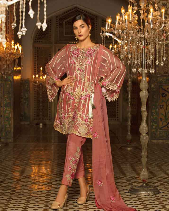 Mah E Rooh Luxury Chiffon Embroidered Formal Collection 2018 – Coral (Chantilly Chiffon)