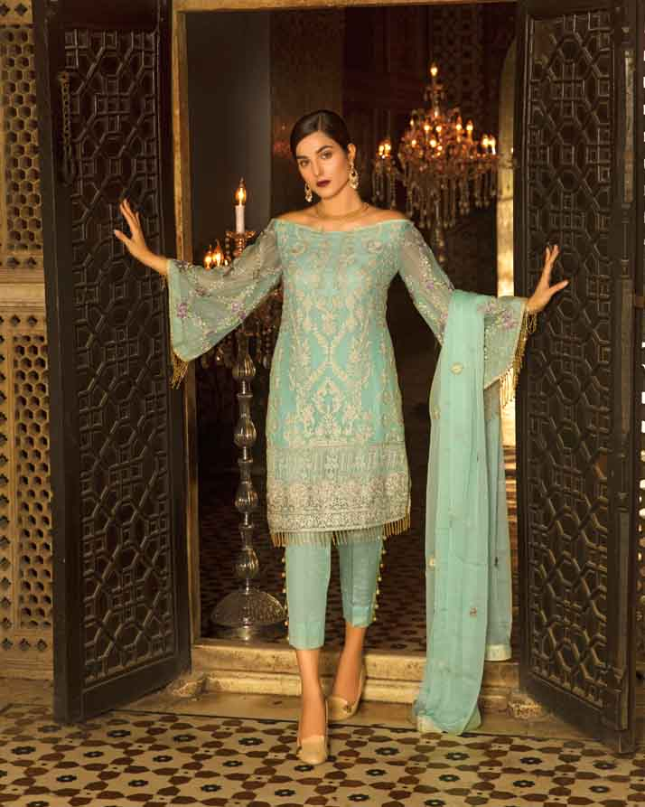 Mah E Rooh Luxury Chiffon Embroidered Formal Collection 2018 – 08 - Light Turqouise (Chantilly Chiffon)