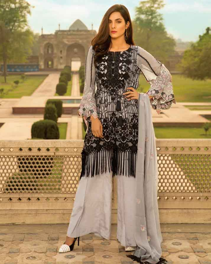Mah E Rooh Luxury Chiffon Embroidered Formal Collection 2018 – Grey Goose (Chantilly Chiffon)