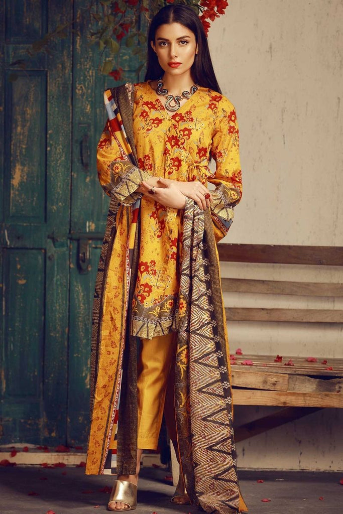 Khaadi Tropical Escape Lawn Collection 2018 – A18103 Yellow 3Pc