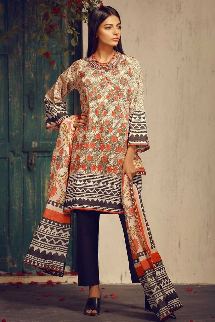 Khaadi Tropical Escape Lawn Collection 2018 – A18105 Black 3Pc