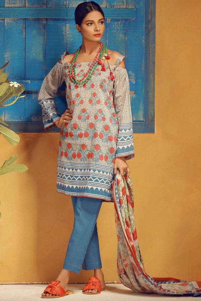 Khaadi Tropical Escape Lawn Collection 2018 – A18105 Blue 3Pc