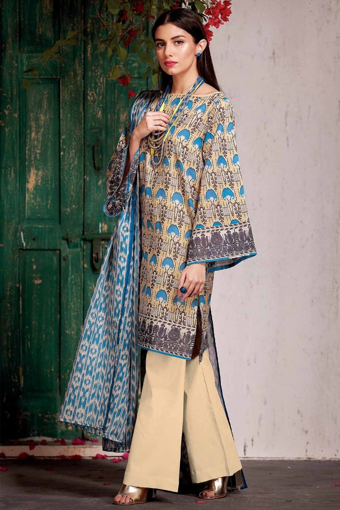 Khaadi Tropical Escape Lawn Collection 2018 – A18106 Beige 3Pc