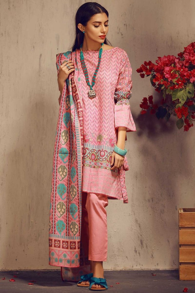 Khaadi Tropical Escape Lawn Collection 2018 – A18107 Pink 3Pc