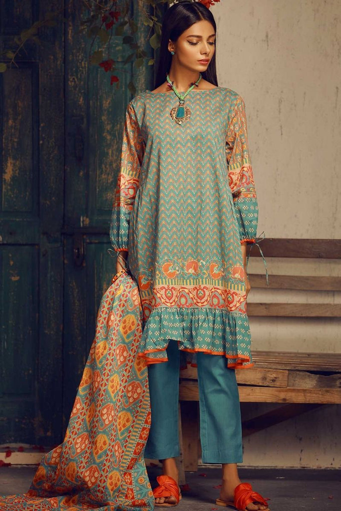Khaadi Tropical Escape Lawn Collection 2018 – A18107 Blue 3Pc