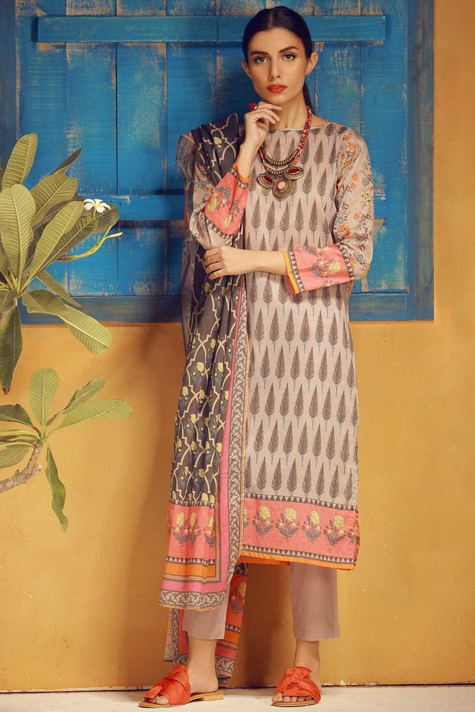 Khaadi Tropical Escape Lawn Collection 2018 – A18110 Grey 3Pc