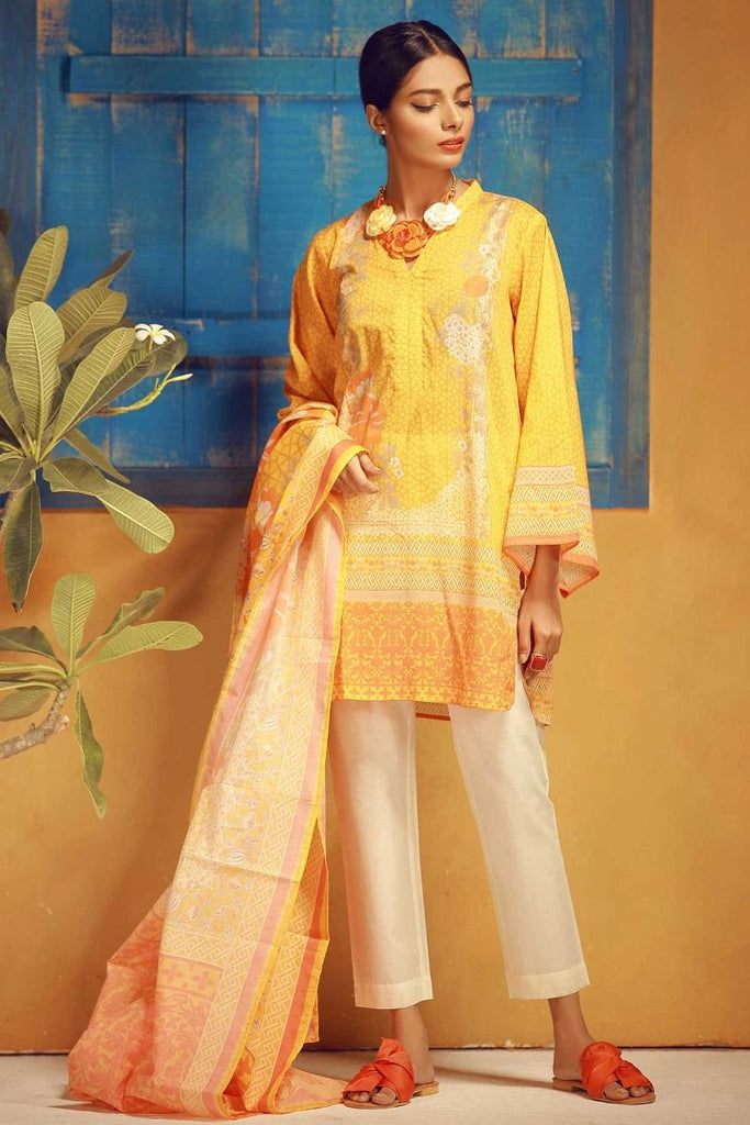 Khaadi Tropical Escape Lawn Collection 2018 – A18113 Yellow 3Pc
